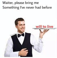 Live, Never, and Will: Waiter, please bring me  Something I've never had before  will to live