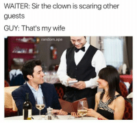Memes, Scare, and Clowns: WAITER: Sir the clown is scaring other  guests  GUY: That's my wife  random ape IG: @thefunnyintrovert