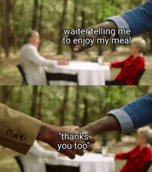 "Irl, Me IRL, and You: waiter telling me  to enjoy my meal  6366  ""thanks  you too"" me_irl"