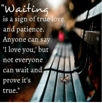 """true love: """"waiti  is a sign of true love  and patience  Anyone can say  """"I love you, but  not everyone  can wait and  prove it's  true."""