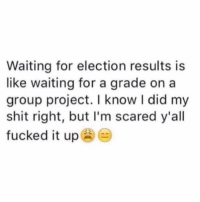 Lol, Shit, and Waiting...: Waiting for election results is  like waiting for a grade on a  group project. I know I did my  shit right, but I'm scared y'all  fucked it up I would give it a C