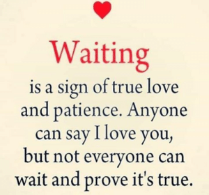 Love, Memes, and True: Waiting  is a sign of true love  and patience. Anyone  can say I love you,  but not everyone can  wait and prove it's true.