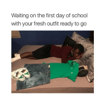 Waiting on the first day of school  with your fresh outfit ready to go emily G. is so nice i love her