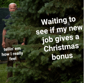 me_irl: Waiting to  see if my new  job gives a  Christmas  bonus  tellin' em  how I really  feel me_irl