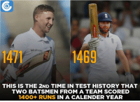 Memes, Sachin Tendulkar, and 🤖: Waitrose  14  1469  THIS IS THE 2ND TIME IN TEST HISTORY THAT  TWO BATSMEN FROM A TEAM SCORED  1400+ RUNS IN A CALENDER YEAR Sachin Tendulkar (1562) and Virender Sehwag (1422) were the first ones to create the record in 2010.