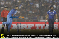 Memes, Cricket, and 🤖: Waitrose  RAVI ASHWIN NEEDS MORE 5 WICKETS TO COMPLETE 150  WICKETS IN ODIs AND 450 WICKETS IN INTERNATIONAL CRICKET Ashwin Ravi needs more 5 wickets to complete 150 ODI wickets and 450 International Wickets