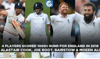Memes, 🤖, and Roots: Waitrose  Waitrose  4 PLAYERS SCORED 10OO+ RUNS FOR ENGLAND IN 2016  ALASTAIR COOK, JOE ROOT, BAIRSTOW & MOEEN ALI Moeen Ali is the latest entrant in the list to score 1000+ runs for England in 2016.