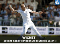 Ali, Memes, and India: Waitrose  WICKET  Jayant Yadav c Moeen Ali b Stokes 5501410 IND v ENG, 3rd Test, Day-3: IND - 417/9 (138) | Umesh Yadav - 12 (40) , Mohammed Shami - 1 (1) | India lead by 134 runs