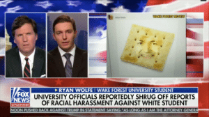"College, Crying, and Tumblr: WAKE FOREST REVIEW  lu Goble  RYAN WOLFEI WAKE FOREST UNIVERSITY STUDENT  UNIVERSITY OFFICIALS REPORTEDLY SHRUG OFF REPORTS  OF RACIAL HARASSMENT AGAINST WHITE STUDENT  EWS  channe  PUSHED BACK AGAINST TRUMP IN STATEMENT SAYING ""AS LONG AS I AM THE ATTORNEY GENER krafteasymac:a college republican went crying to tucker carlson last night because some black classmates photoshopped his face onto a literal cracker"
