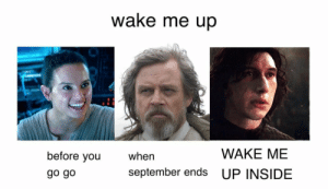 me irl: wake me up  WAKE ME  before you  go go  when  september ends UP INSIDE me irl