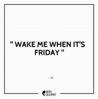Android, Friday, and Google: WAKE ME WHEN IT'S  FRIDAY  ME  epIC  quotes #625  #Life Suggested by Arjun Rathod Download our Android App : https://play.google.com/store/apps/details?id=com.epicquotes visit us : www.EpicQuotes.com