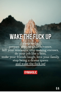 Family, Friends, and Love: WAKE THE FUCK UP  sleep early  prepare your meals in advance  kill your workouts, stop making excuses,  do your job like a boss,  make your friends laugh, love your family,  stop being a drama queen  and wake the fuck up!  GYMAHOLIC  GA