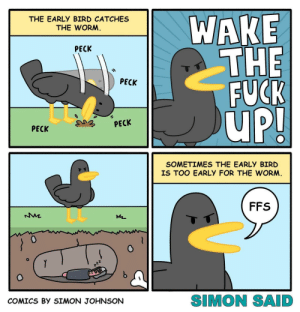 (OC) Early bird catches the worm: WAKE  THE  FUCK  uP!  THE EARLY BIRD CATCHES  THE WORM.  PECK  PECK  PECK  PECK  SOMETIMES THE EARLY BIRD  IS TOO EARLY FOR THE WORM.  FFS  T  Y  SIMON SAID  COMICS BY SIMON JOHNSON (OC) Early bird catches the worm