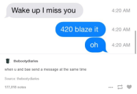 blaze it: Wake up I miss you  420 blaze it  oh  the booty diaries  when u and bae send a message at the same time  Source: thebootydiaries  177,018 notes  4:20 AM  4:20 AM  4:20 AM