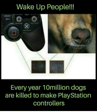 Wake Up People!!  START  Every year 10million dogs  are killed to make PlayStation  controllers