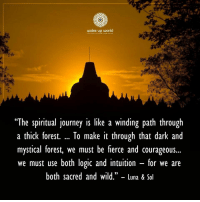 "Journey, Logic, and Wild: wake up world  ""The spiritual journey is like a winding path through  a thick forest. To make it through that dark and  mystical forest, we must be fierce and courageous...  we must use both logic and intuition - for we are  both sacred and wild."" - Luna & Sol  (C"