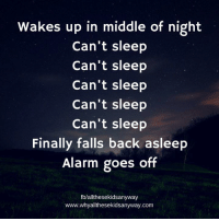 Wakes up in middle of night  Can't sleep  Can't sleep  Can't sleep  Can't sleep  Can't sleep  Finally falls back asleep  Alarm goes off  fb/allthesekidsanyway  www.whyallthesekidsanyway.com