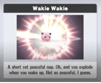 Guess, Wake, and You: Wakie Wakie  A short yet peaceful nap. Oh, and you explode  when you wake up. Not so peaceful, I guess.