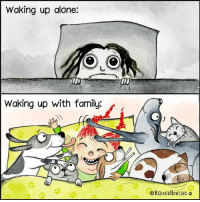 Being Alone, Family, and Memes: Waking up alone:  Waking up with family:  CREDANDHOWLING
