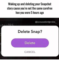 """Hoe, Snapchat, and Girl Memes: Waking up and deleting your Snapchat  story cause you're not the same carefree  hoe you were 5 hours ago  @scousebirdprobs  Delete Snap?  Delete  CANCEL """"Never be ashamed of the hoe you truly are"""" - Eleanor Roosevelt ( @scousebirdprobs_ )"""