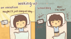 If you are a student Follow @studentlifeproblems​: Waking uP  chibird tumblr  on vacation  schoolday AH  maybe Il just sleal day  I'm late!  BEEP-  30m  6:00M  BEEP If you are a student Follow @studentlifeproblems​