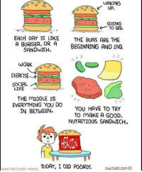 Good Dank: WAKING  UP.  GOING  TO BED.  EACH DAY IS LIKE THE BUNS ARE THE  A BURGER, OR A BEGINNING AND END.  SANDWICH.  WORK  EXERCISE  SOCIAL  LIFE  THE MIDDLE IS  EVERYTHING YOU DO  IN BETWEEN.  YOU HAVE TO TRY  TO MAKE A GOOD,  DANK RECONERSY HTODAY, I DID POORLY OLTURD.com