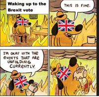 As an American watching the UK: Waking up to the  Brexit vote  I'M OKAY WITH THe  eve NTS THAT ARe  UNFOLDING  CURRENTLY  THIS IS FINe. As an American watching the UK