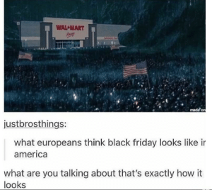 America, Black Friday, and Friday: WAL -MART  justbrosthings:  what europeans think black friday looks like ir  america  what are you talking about that's exactly how it  looks That's exactly what goes down