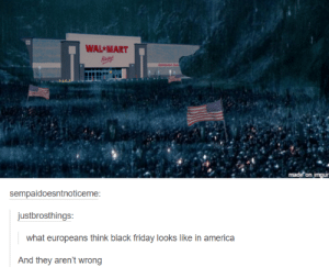 America, Black Friday, and Friday: WAL MART  on imgu  sempaidoesntnoticeme  justbrosthings  what europeans think black friday looks like in america  And they aren't wrong oh the chaos