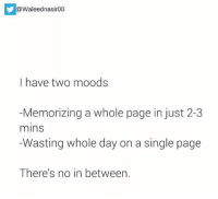 i have two moods.. rvcjinsta: @Waleednasir00  I have two moods  Memorizing a whole page in just 2-3  mins  Wasting whole day on a single page  There's no in between. i have two moods.. rvcjinsta