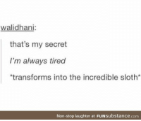 Sloth, Laughter, and The Incredible: walidhani:  that's my secret  I'm always tired  transforms into the incredible sloth*  Non-stop laughter at FUNsubstance.com