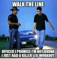 Gym, Memes, and Strong: WALK THE LINE  OFFICERIPROMISEIM NOTIDRUNK  I JUST HADAKILLERLEGWORKOUT Strong excuse is strong. Problem officer?