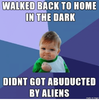 Aliens, Alien, and Home: WALKED BACK TO HOME  IN  THE DARK  DIDNT GOT  ABUDUCTED  BY ALIENS  made on inngur They can't catch me