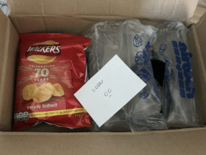 Ordered a lens on eBay. Seller forgot to send the lens hood with it and sent it out separately. Sent me a note and a packet of crisps. What a legend!: WALKERS  CELEBRATIN  70  YEARS  Ready Salted  lg 10 10 1 0.35의 MULTİPACK BAG NOT TO BE SOLD SE ARATELY  25g e  Sagars Sat  cal Ordered a lens on eBay. Seller forgot to send the lens hood with it and sent it out separately. Sent me a note and a packet of crisps. What a legend!