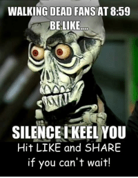 Memes, News, and The Walking Dead: WALKING DEAD FANS AT 8:59  BE LIKE.  SILENCE EKEEL YOU  Hit LIKE and SHARE  if you can't wait! Who's ready for it? #TheWalkingDead fans, please RESPOND! Hit the LIKE button today. :) (y)  http://www.egvoproductions.com/news-blog/the-walking-dead-season-7-premiere-the-day-will-come-when-you-wont-be-on-amc-10-23-2016