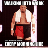 Food, Funny, and Instagram: WALKING INTO WORK  @STTLZREALTOUS an Instagram  EVERY MORNINGLIKE Don't wanna do it... wwe memes jokes wwememes wrestling raw sdlive funny food njpw roh love laugh haha memes jokes like follow share njpw roh love samoajoe shirtless