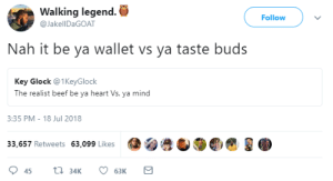 Top 10 anime boss fights by Zetice FOLLOW HERE 4 MORE MEMES.: Walking legend.  Follow  @JakellDaGOAT  Nah it be ya wallet vs ya taste buds  Key Glock @1KeyGlock  The realist beef be ya heart Vs. ya mind  3:35 PM-18 Jul 2018  33,657 Retweets 63,099 LikesC Top 10 anime boss fights by Zetice FOLLOW HERE 4 MORE MEMES.