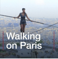 Memes, Wow, and Daredevil: Walking  on Paris Whatever you do, don't look down... Hundreds of people gathered in Paris to watch Tatiana-Mosio Bongonga walk across a tightrope that was 35 metres off the ground. Want to know just how daring it was? Look at the faces of the crowd! paris daredevil smile montmarte wow bbcnews