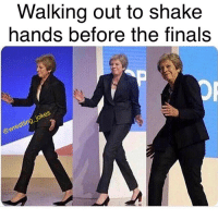 Finals, Memes, and 🤖: Walking out to shake  hands before the finals  re  @w 😄