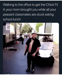 I miss eating that cardboard pizza in school and them milk cartons that gave you leaky booty: Walking to the office to get the Chick Fil  A your mom brought you while all your  peasant classmates are stuck eating  school lunch  @_Blockaye I miss eating that cardboard pizza in school and them milk cartons that gave you leaky booty