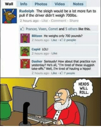 """Memes, Cupid, and 🤖: Wall  Info Photos  Video  Notes  Rudolph The sleigh would be a lot more fun to  pull if the driver didn't weigh 700lbs.  2 hours ago Like Comment Share  Prancer, vixen, Comet and 5 others like this.  Blitzen He weighs only 700 pounds?  2 hours ago. Like 2 people  Cupid LOL!  2 hours ago. Like  Dasher Seriously! How about that practice run  yesterday? He's all, I'm tired of these sluggish  take-offs,"""" Well, I'm tired of hauling a hippo!  2 hours ago Like .D 7 people  HEADS  WILL  ROLL. Heads gonna roll lol"""