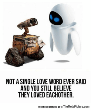 Love, Tumblr, and Blog: WALL  NOT A SINGLE LOVE WORD EVER SAID  AND YOU STILL BELIEVE  THEY LOVED EACHOTHER.  you should probably go to TheMetaPicture.com lolzandtrollz:  When Words Are Not Necessary