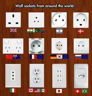 lolzandtrollz:  Wish They Would Standardize These Sorts Of Things: Wall sockets from around the world...  I T lolzandtrollz:  Wish They Would Standardize These Sorts Of Things