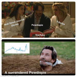 Disney, youtube.com, and Wall Street Journal: Wall Street Journal  Disney  T-Series  Pewdiepie  EASEN  RAD  YouTube  A surrendered Pewdiepie  made with mematic Pewds after getting attacked by media.