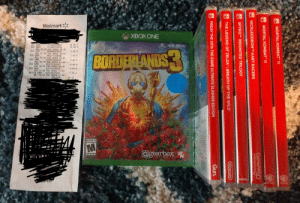 The workers messed up and I got all these for only $46.72 when it should have been $175 with the black Friday deals. Hah what a steal: Walmart  TTH  XBOXONE  4K  ULTRA HD  071042559494  071042559494  UAS 49.94 YOU SAVED 36.98  086000079070  WAS 32.04 YOU SAVED 28.88  085613100808  WAS 29.83 YOU SAVED 25.87  088392966895  WAS 49.94 YOU SAVED 43-98  088392966095  WAS 49.94 YOU SAVED 43-98  004787588405  WAS 33.88 YOU SAVED 27.92  SUITCH GAME 004549659042  WAS 49.94 YOU SAVED 41.98  SUBTOTAL  30.00-0  12.96 O  XBT GAME  XB1 GAME  XBOX ONE X  ENHANCED  HDR  NSU GAME  3.96 0  BORDEPLANDS  NSW GAME  3.96 O  MSU GAME  5.96 O  NSU GAME  5.96-0  NSW GAME  5.96-0  7.96 O  46.72  JAR 00.  WRL  MATURE 17+  gearbox  ESRB  UL'  Softw are  Soa  ts  MORTAL KOMBAT 11  MORTAL KOMBAT 11  GameMill  entertainment  NICKLEODEONTM KART RACERS  SPYROT REIGNITED TRILOGY  THE LEGEND OF ZELDA: BREATH OF THE WILD  Nintendo  FRIDAY THE 13TH: THE GAME ULTIMATE SLASHER EDITION  Gun. The workers messed up and I got all these for only $46.72 when it should have been $175 with the black Friday deals. Hah what a steal