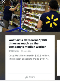 "<p>""This just in: operating a multimillion dollar company with millions of employees is worth more than stocking shelves. More shocking news at 11""</p>: Walmart's CEO earns 1,188  times as much as the  company's median worker  CNNMoney 2 hours ago  Doug McMillon raked in $22.8 million.  The median associate made $19,177  Share <p>""This just in: operating a multimillion dollar company with millions of employees is worth more than stocking shelves. More shocking news at 11""</p>"