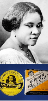 "<p>Black history month day 13: Entrepreneur and social activist Madame CJ Walker.</p>  <p>Madame CJ Walker was born Sarah Breedlove in  Louisiana in 1867. Her parents and siblings had been former slaves but she was the first in her family to be born free post-emancipation. She was orphaned at the age of 7, and when she was 10, Sarah moved to Mississippi to live with her older sister and brother-in-law, and work as a domestic servant. She married at 14, possibly to escape mistreatment from her brother-the-law. She had one child with her first husband Moses before he passed away. She remarried, but ended up leaving her husband to move to Denver Colorado. Finally in 1906, Sarah married Charles Joseph Walker, a newspaper advertising salesman she had known in Missouri. Through this marriage, she became known as Madam C. J. Walker. </p>  <p>Sarah moved to St. Louis Missouri with her daughter and got work as a laundress, barely earning a dollar a day. Still, she was determined to make enough money to afford her daughter a formal education. During this time, Walker experienced hair and scalp problems that were common among black women of her era, including severe dandruff and baldness due to skin disorders and the application of harsh products such as lye that were included in soaps to cleanse hair. Other contributing factors included poor diet, illnesses, and infrequent bathing and hair washing. This was a time when many Americans lacked indoor plumbing, central heating, and electricity. Walker ended up becoming a commission sales agent for Annie Turnbo Malone, another black hair care entrepreneur, and ended up adapting her knowledge of hair to develop her own product line. Eventually she became the biggest rival of the company she once worked for.</p>  <p>Walker began a business selling hair care products for African-American women. She worked with her husband as a business partner and her daughter as a sales associate. She adopted the name ""madam"" from the women pioneers of the French beauty industry, and trained many other black women on proper hair care and how to sell her products. She gave jobs to thousands of women and the majority of her salesforce and management was female run. She gained international popularity with women using her products in places like Haiti, Jamaica, and Cuba. </p>  <p>Walker passed away at age 51 from kidney failure and complications with hypertension, and her daughter became president of the company. Walker was eulogized first self-made American millionaire, although her estate was only worth about $600,000. However that's close to $8 million in today's money. Walker gave generously to charity and spent much of her life teaching other black women how to budget their money and start their own businesses.</p>: WALRER  SCAL İNTMENT  WONDERFUENT  UBLE STRENGT  PRICE S0 CENT <p>Black history month day 13: Entrepreneur and social activist Madame CJ Walker.</p>  <p>Madame CJ Walker was born Sarah Breedlove in  Louisiana in 1867. Her parents and siblings had been former slaves but she was the first in her family to be born free post-emancipation. She was orphaned at the age of 7, and when she was 10, Sarah moved to Mississippi to live with her older sister and brother-in-law, and work as a domestic servant. She married at 14, possibly to escape mistreatment from her brother-the-law. She had one child with her first husband Moses before he passed away. She remarried, but ended up leaving her husband to move to Denver Colorado. Finally in 1906, Sarah married Charles Joseph Walker, a newspaper advertising salesman she had known in Missouri. Through this marriage, she became known as Madam C. J. Walker. </p>  <p>Sarah moved to St. Louis Missouri with her daughter and got work as a laundress, barely earning a dollar a day. Still, she was determined to make enough money to afford her daughter a formal education. During this time, Walker experienced hair and scalp problems that were common among black women of her era, including severe dandruff and baldness due to skin disorders and the application of harsh products such as lye that were included in soaps to cleanse hair. Other contributing factors included poor diet, illnesses, and infrequent bathing and hair washing. This was a time when many Americans lacked indoor plumbing, central heating, and electricity. Walker ended up becoming a commission sales agent for Annie Turnbo Malone, another black hair care entrepreneur, and ended up adapting her knowledge of hair to develop her own product line. Eventually she became the biggest rival of the company she once worked for.</p>  <p>Walker began a business selling hair care products for African-American women. She worked with her husband as a business partner and her daughter as a sales associate. She adopted the name ""madam"" from the women pioneers of the French beauty industry, and trained many other black women on proper hair care and how to sell her products. She gave jobs to thousands of women and the majority of her salesforce and management was female run. She gained international popularity with women using her products in places like Haiti, Jamaica, and Cuba. </p>  <p>Walker passed away at age 51 from kidney failure and complications with hypertension, and her daughter became president of the company. Walker was eulogized first self-made American millionaire, although her estate was only worth about $600,000. However that's close to $8 million in today's money. Walker gave generously to charity and spent much of her life teaching other black women how to budget their money and start their own businesses.</p>"