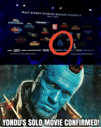 CoCo, Disney, and Facts: WALT DISNEY STUDIOS RELEASE SCHEDULE  2017-2019  THOR  CocO  FROZEN  ot  O Tol  4  WR  OON  ー2017-  2018  2019  INSPIRED BY @DC.COMICS FACTS  @OCMARVELCOMICSMOVIES  YONDU'S SOLO MOVIE CONFIRMED! <p>Yaaaaas finally the REAL Mary Poppins is going to have the movie she deserves 😂😂😂</p>