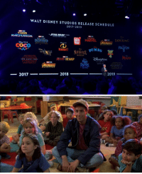 what i'm going to look like in the movie theater https://t.co/VZsRa8udYV: WALT DISNEY STUDIOS RELEASE SCHEDULE  2017-2019  THOR  RAGNAROK  A STAR WARS STORY  UNTITLED HAN SOLO FILM  snoos  nep PIXAR  PIXAR  COCO  FROZEN  2  NCREDIBLES  WRINKLE  STORY  4  IN  ISNETOON  UNTITLED  WARS  RETURAS  2018  2019  2017 what i'm going to look like in the movie theater https://t.co/VZsRa8udYV