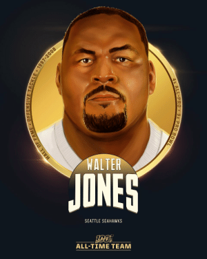 Walter Jones is one of the seven offensive tackles selected to the #NFL100 All-Time Team!  💪 9x Pro Bowl 💪 4x First-team All-Pro 💪 NFL All-Decade Team of the 2000s https://t.co/Rq70dGfKxw: WALTER  JONES  SEATTLE SEAHAWKS  ALL-TIME TEAM  HALL OF FAME • OFFENSIVE TACKLE 1997-2008  4x ALL-PRO 9x PRO BOWL Walter Jones is one of the seven offensive tackles selected to the #NFL100 All-Time Team!  💪 9x Pro Bowl 💪 4x First-team All-Pro 💪 NFL All-Decade Team of the 2000s https://t.co/Rq70dGfKxw